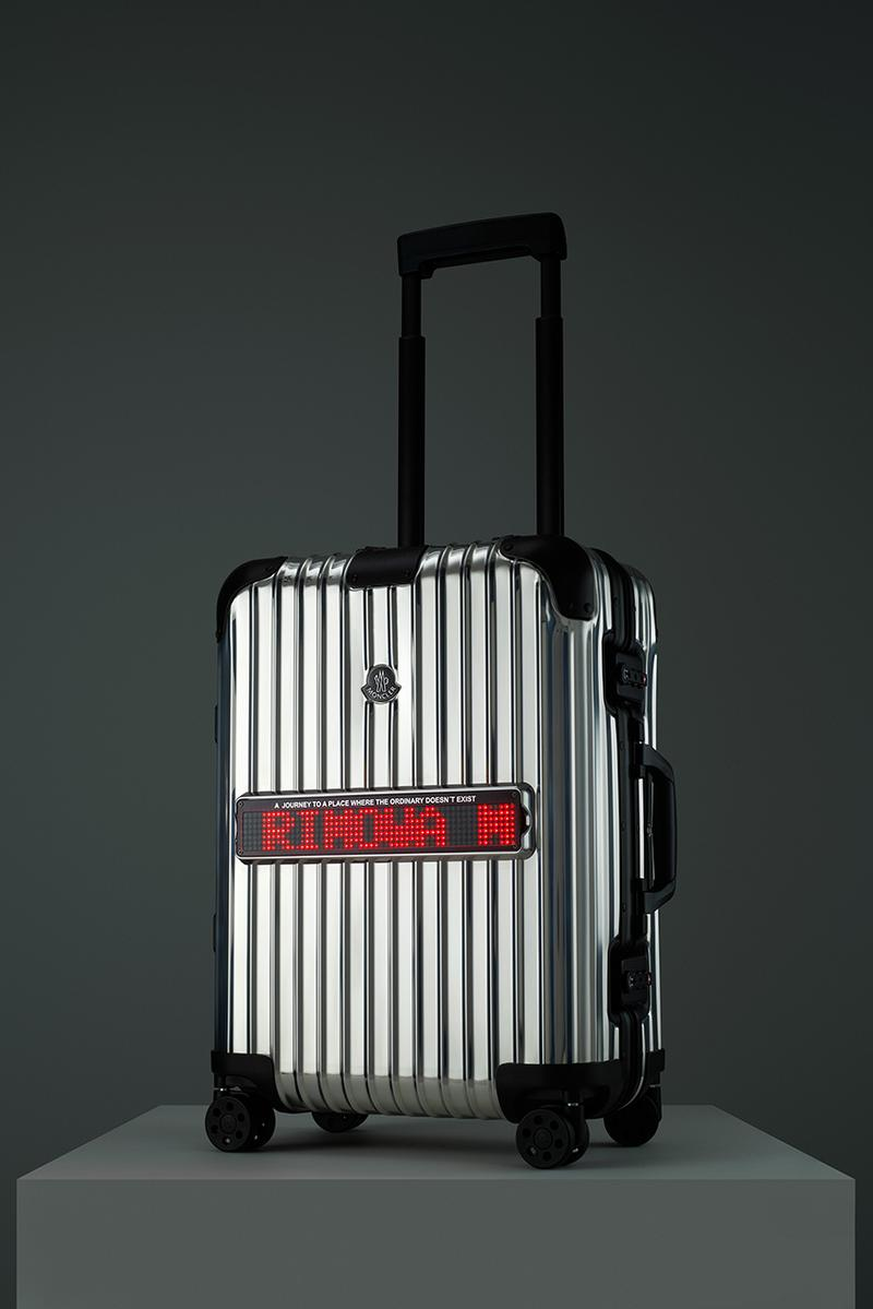 "モンクレール リモワ リフレクション Moncler と RIMOWA のコラボスーツケース ""Reflection"" が公開 Moncler x RIMOWA ""Reflection"" Suitcase Collaboration luggage original cabin led ticker screen message genius"