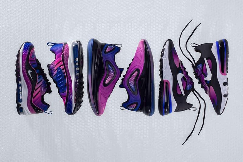 ナイキがエア マックス バブル パックをリリース プチプチ Nike Air Max Bubble Pack Full Look Release 90 270 98 720 Gradient Purple Blue Green iridescent