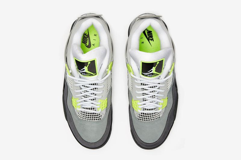 "エアマックス95 エアジョーダン4  95 ネオン Air Max 95 の OG カラーを纏った Air Jordan 4 ""'95 Neon"" 発売 Air Jordan 4 Neon Air Max 95 Release Date Nike AM95 Sneaker Sneakers Jumpman Brand Retro Running Basketball Michael Jordan Nike HYPEBEAST Footwear Drop"