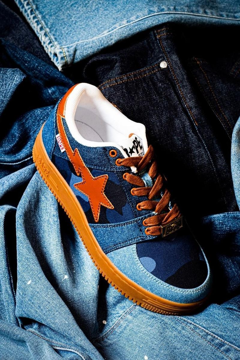 BAPE®️からデニムのパッチワークが施されたBAPE STA™が登場 bape bapesta patchwork denim blue brown 20th anniversary release date info photos price
