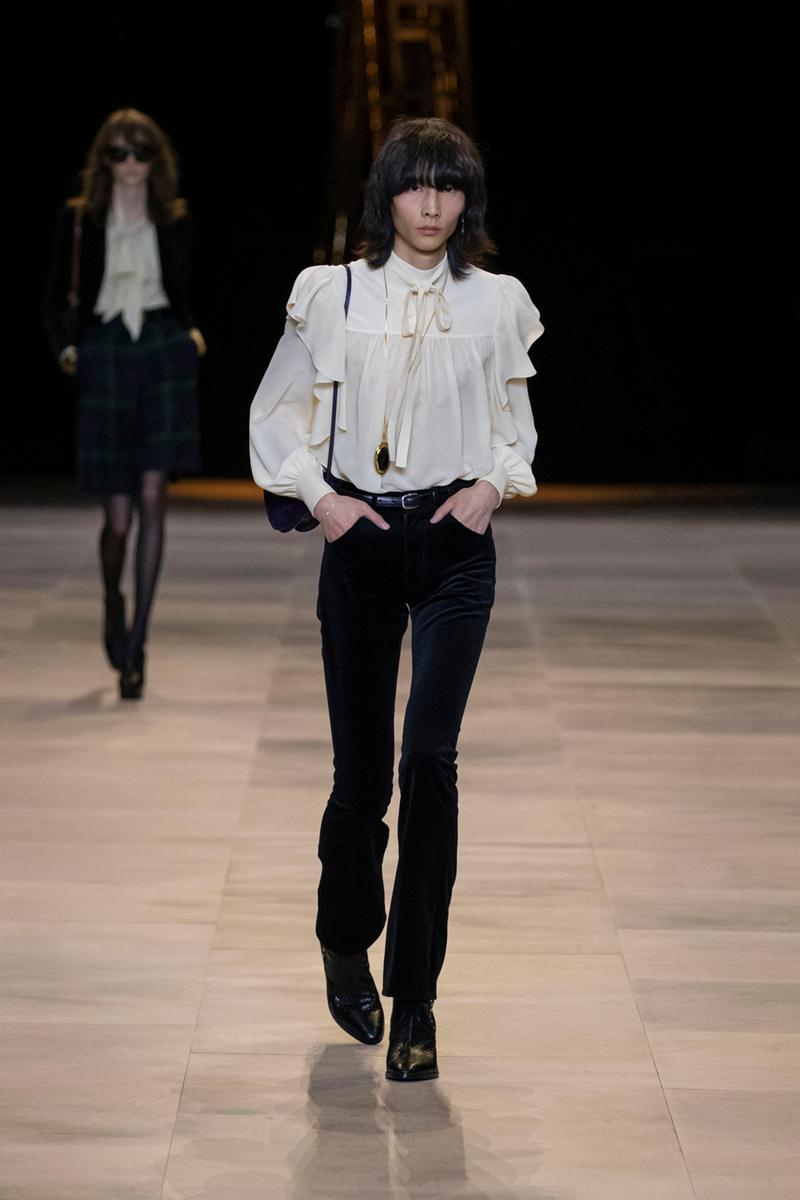 セリーヌ 2020年秋冬コレクション CELINE Fall/Winter 2020 Runway Collection Cesar Compression Project Crystals Jewelry Necklaces Pins Cuffs Vests Shirts Capes Hats Pants Ruffles Gingham Fur