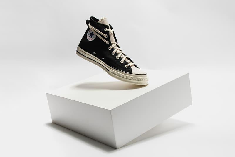"""フィアオブゴッド エッセンシャルズ x コンバースのChuck 70にクローズアップ Fear of God Essentials x Converse Chuck 70 """"Black/Egret"""" """"Ivory/Black""""  Release Information Closer Look Editorial HYPEBEAST Footwear Drops Images Jerry Lorenzo FOG"""