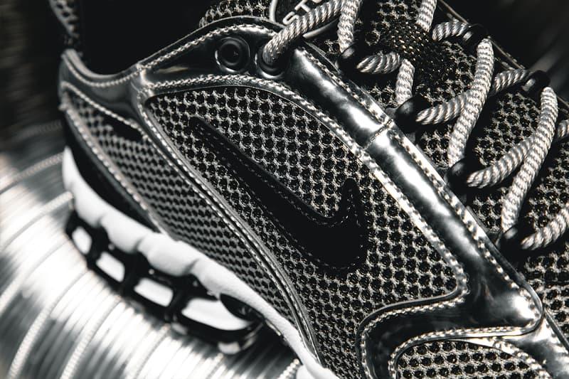 ステューシー  x ナイキの最新コラボモデルにクローズアップ Stüssy Nike Air Zoom Spiridon Caged 2 Closer Look CU1854-001 CQ5486-200 Pure Platinum Black White Black Fossil Apparel Release Info Buy Price Date