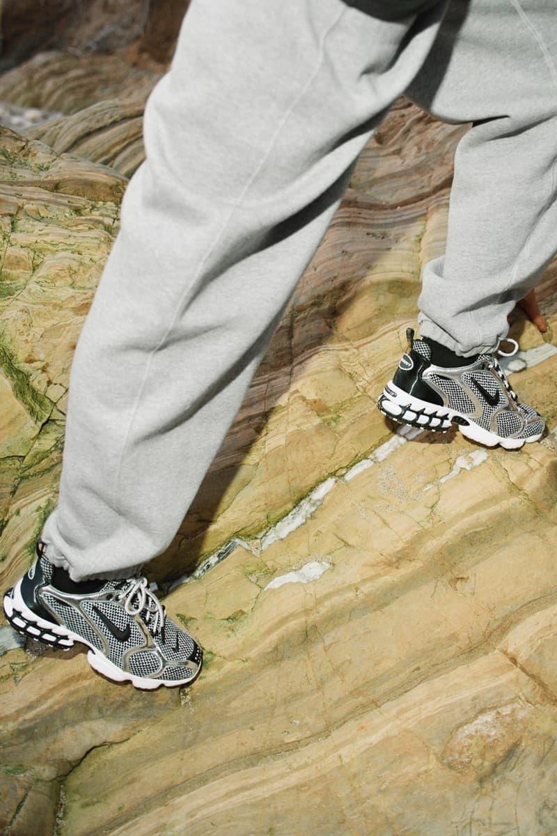 ステューシー & ナイキの最新コラボコレクションの発売情報が解禁 stussy nike air zoon spiridon caged 2 pure platinum black fossil white sweatshirt sweatpants tote bag apparel release date info photos price
