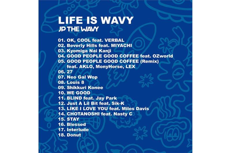 ヴェルディの手がけたジェイピーザウェイビー 1stアルバム VERDY の手がけた JP THE WAVY ファーストアルバム『LIFE IS WAVY』のアートワークが公開