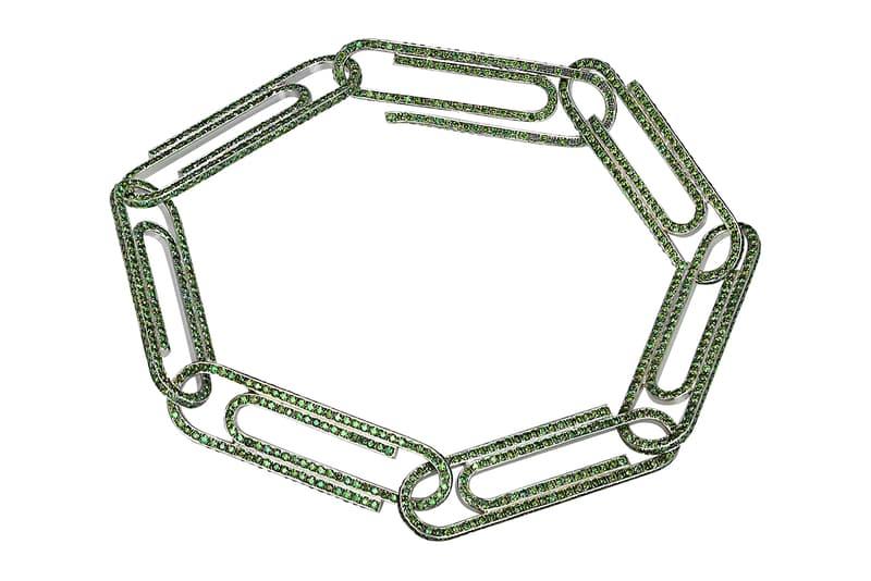 """ヴァージル・アブロー が""""オフィス用品""""をモチーフとしたジュエリーラインをスタート Virgil Abloh x Jacob & Co. """"Office Supplies"""" Collaboration jewelry collection paperclip money clip earrings bracelet necklace release date order form email"""