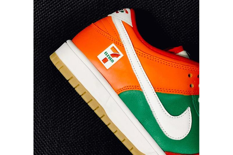 セブン-イレブン x ナイキSB ダンクのビジュアルが急浮上 7-eleven 11 nike sb dunk low orange green red white gum first look release date info photos price