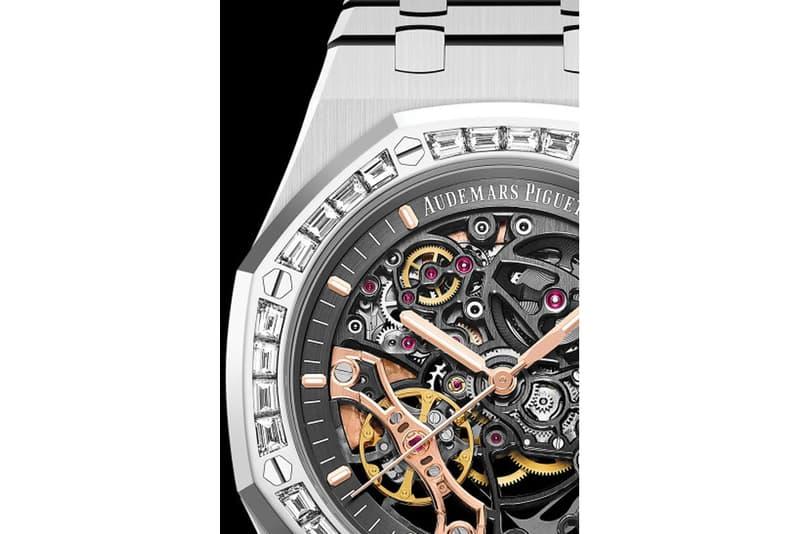 オーデマピゲ ロイヤル オーク Audemars Piguet から ベゼルに32個のバゲットカットダイヤモンドを配した新作 Royal Oak が登場 Audemars Piguet Baguette Royal Oak Double Balance Wheel Openworked 15412BC.ZZ.1220BC.01 Openworked AP watches Swiss le Brassus diamonds gold watch