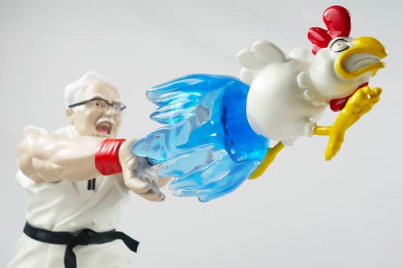"""カーネル・サンダースが某ゲームに登場する""""あの必殺技""""を発射しているフィギュアが登場 HEART LAB HANH EPIC HADOUKEN Statue Release KFC Colonel Sanders Ryu Street Fighter"""