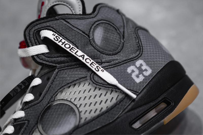 """オフホワイト エアジョーダン 5 Off-White™ x  Air Jordan 5 の最新コラボモデル """"Sail"""" が2020年内リリースの噂が浮上 Off White Air Jordan 5 Sail CT8480-100 Release Info Date Buy Price Fire Red Muslin Black"""