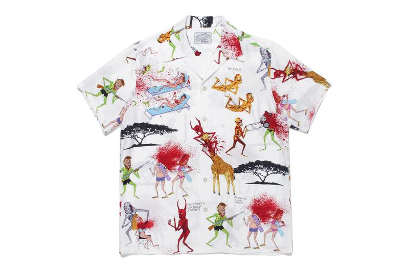 ワコマリアがネックフェイスとの最新コラボハワイアンシャツをリリース Nasty Neckface x WACKO MARIA Hawaiian Shirts Demons Illustrations Drawings Giraffes African Acacia Trees Red White Gray Blue