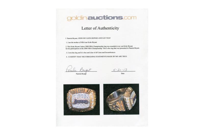 コービー・ブライアントの2000年 NBA チャンピオンリングが2,000万円を超える価格で落札 Kobe pamela Bryant Los Angeles Lakers Championship Ring 206 000 USD Auction joe jellybean