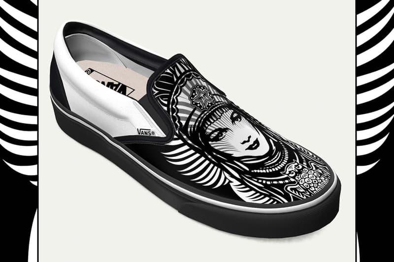 """オベイ ニューヨーク ヴァンズ スリッポン""""OBEY"""" ことシェパード・フェアリーが NY の非営利団体への支援のための特別な Vans Slip-On を製作 Shepard Fairey LISA Project NYC Vans Foot the Bill goddess of peace graphic covid 19 coronavirus support shoes donations creative communities"""