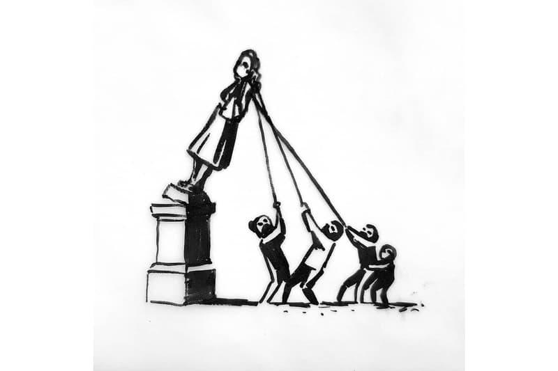 バンクシー Banksy が英ブリストルの奴隷商人像の投棄に対する作品をアップ banksy edward colston statue proposal slavery links london
