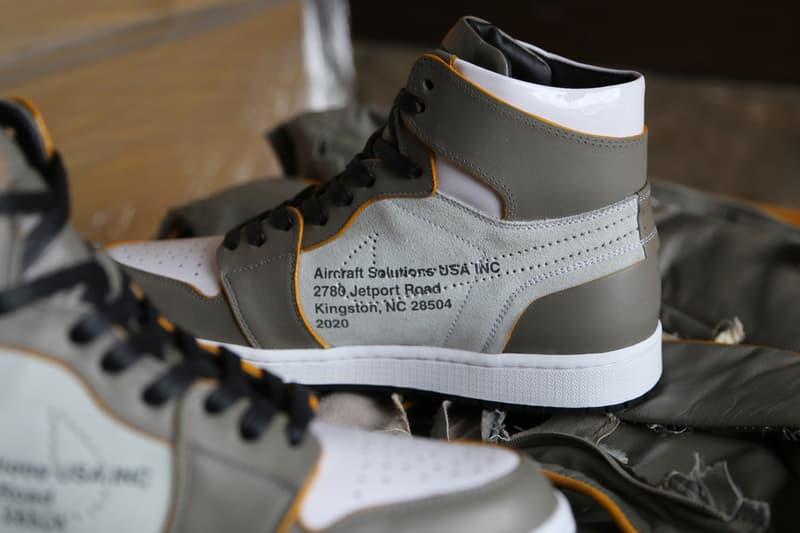 飛行機の廃材を用いたオフホワイト x エアジョーダン1が登場 Off-White x Air Jordan 1 the ten Custom sneakers shoes Made With Recycled Airplane Seats aircraft solutions usa inc ceeze customizer