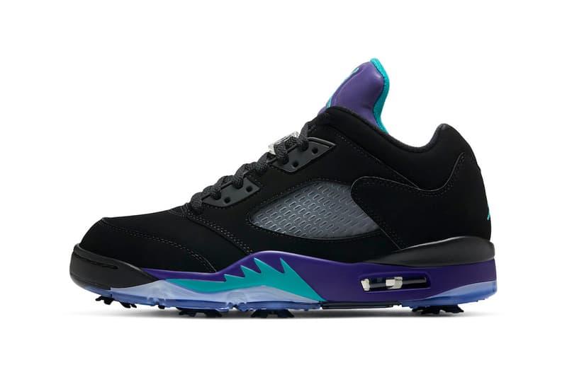 """Air Jordan 5 """"Black Grape""""のゴルフシューズが登場 ナイキ nike エアジョーダン5 Air Jordan 5 Low Golf Black Grape Release Info CU4523-001 Date Buy Price black Purple Teal Ice New Emerald"""