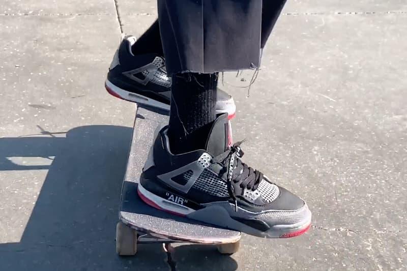 未発売のオフホワイト x エアジョーダン4を着用するスケート動画が公開 Burberry.Erry Erik Arteaga Skates Unreleased Off White Air Jordan 4 Bred Video