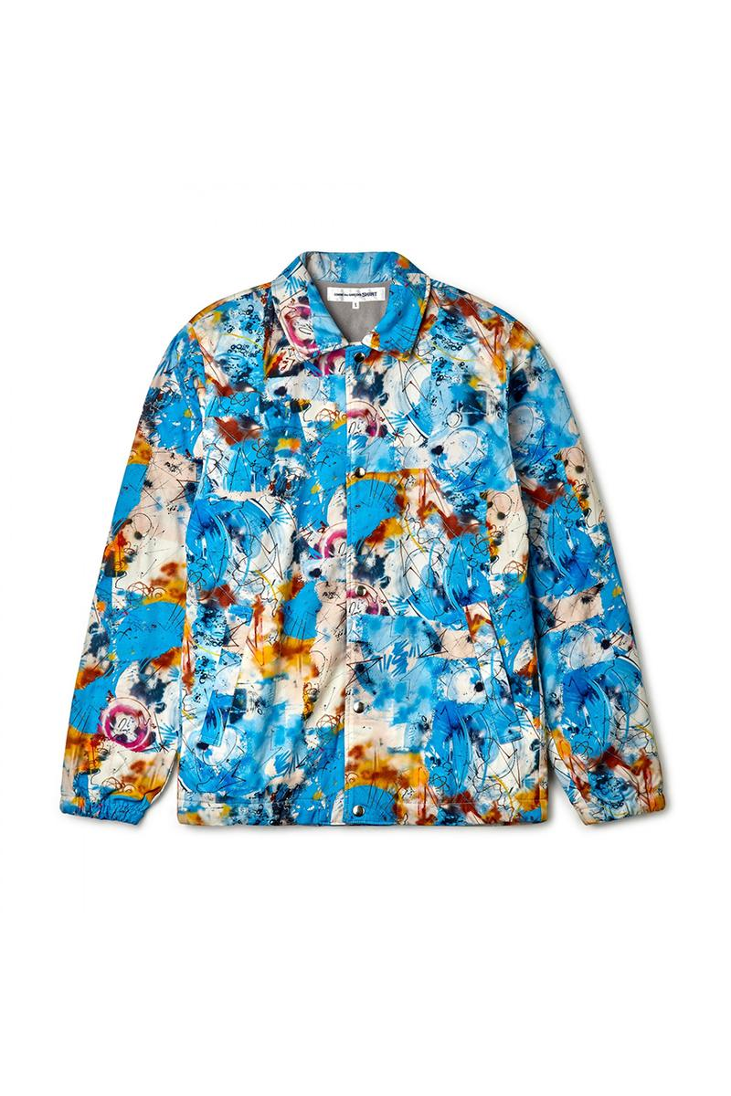 Futura x COMME des GARÇONS SHIRT がコラボコレクションを発表 Futura x COMME des GARÇONS SHIRT Fall/Winter 2020 Collection Collaboration Release Drop Closer Look Shirts Mens Tote Bags Coach Jacket T-Shirts FW20 Rei Kawakubo Graffti Colorful Print