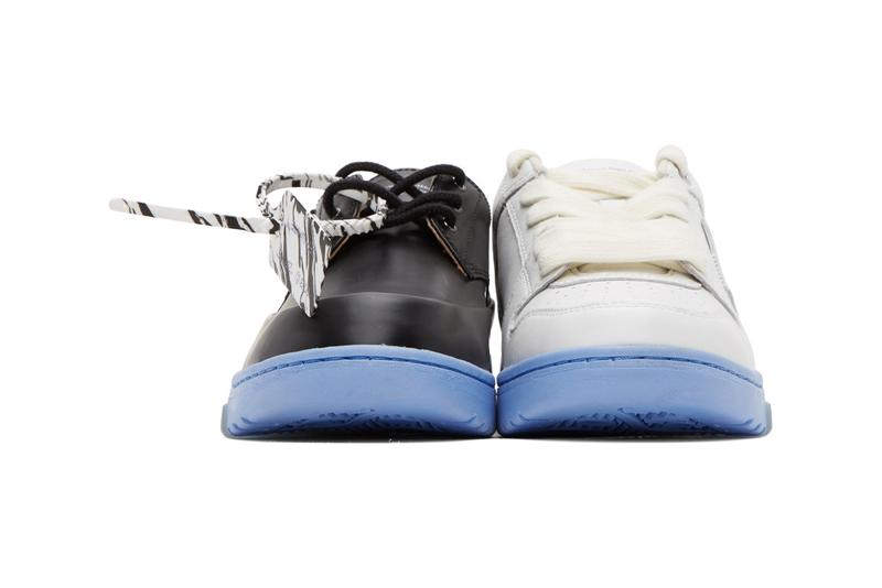 Off-White™️ から最も滑稽な組み合わせを提唱する新作フットウェアが登場 Off-White™ Black & White Half-Half Sneakers Mismatched Shoes Footwear Derby Leather Virgil Abloh Footwear Release Information Red Logo Arrows Cross X Marble Tag
