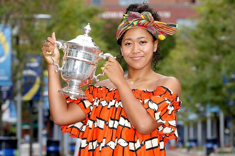Naomi Osaka Wears African dress with Kente styled headwrap with Her US Open Trophy