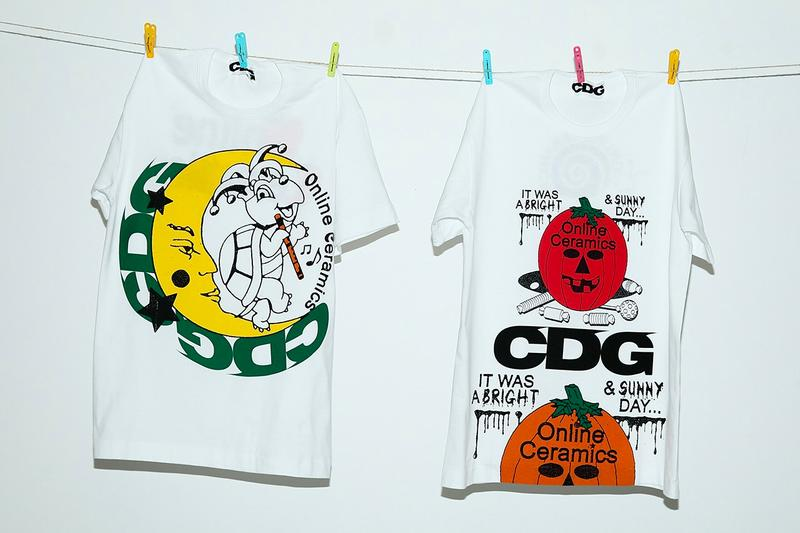 CDG とOnline Ceramics がハロウィン要素満載なコラボTシャツを発表 Online Ceramics COMME des GARcONS T Shirts tees graphics halloween jack olantern menswear streetwear capsule spring summer 2020 ss20 collection collaboration september october