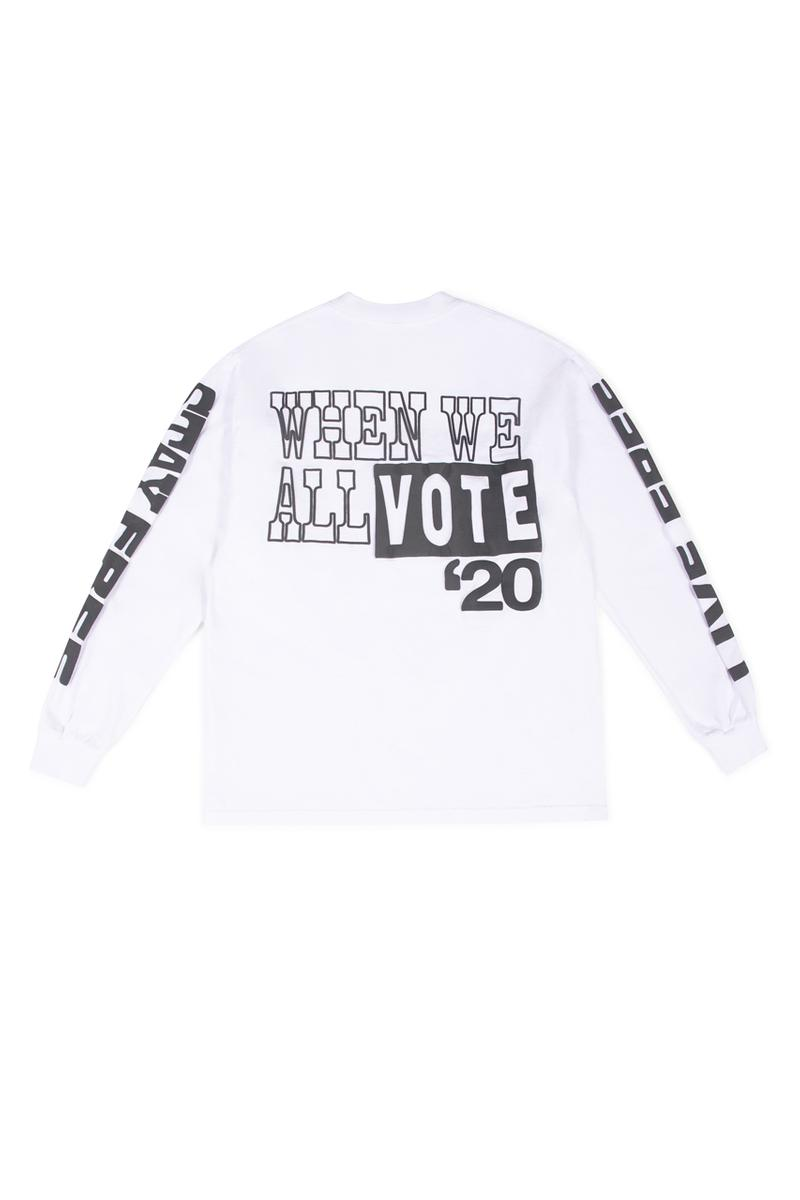 DOVER STREET MARKET が選挙投票の参加を促すべくSTÜSSY や Off-White™️ など25組を招聘したコレクションを発表 Dover Street Market x When We All Vote WWAV Capsule Collection USA NY LA Los Angeles New York Michelle Obama Alastair McKimm Alex Israel Ari Marcopoulos Bravado Beastie Boys Guns N' Roses Selena Gomez Cactus Plant Flea Market Cam Hicks  Dan Colen – Sky High Farm Denim Tears Exchange Program Goodfight Honey Dijon Hood By Air Ignored Prayers Infinite Archives artwork by Adeshola Makinde IRAK Marc Jacobs Maroon World Matt McCormick Midland Agency Off - White Sci - Fi Fantasy Stüssy Vaquera