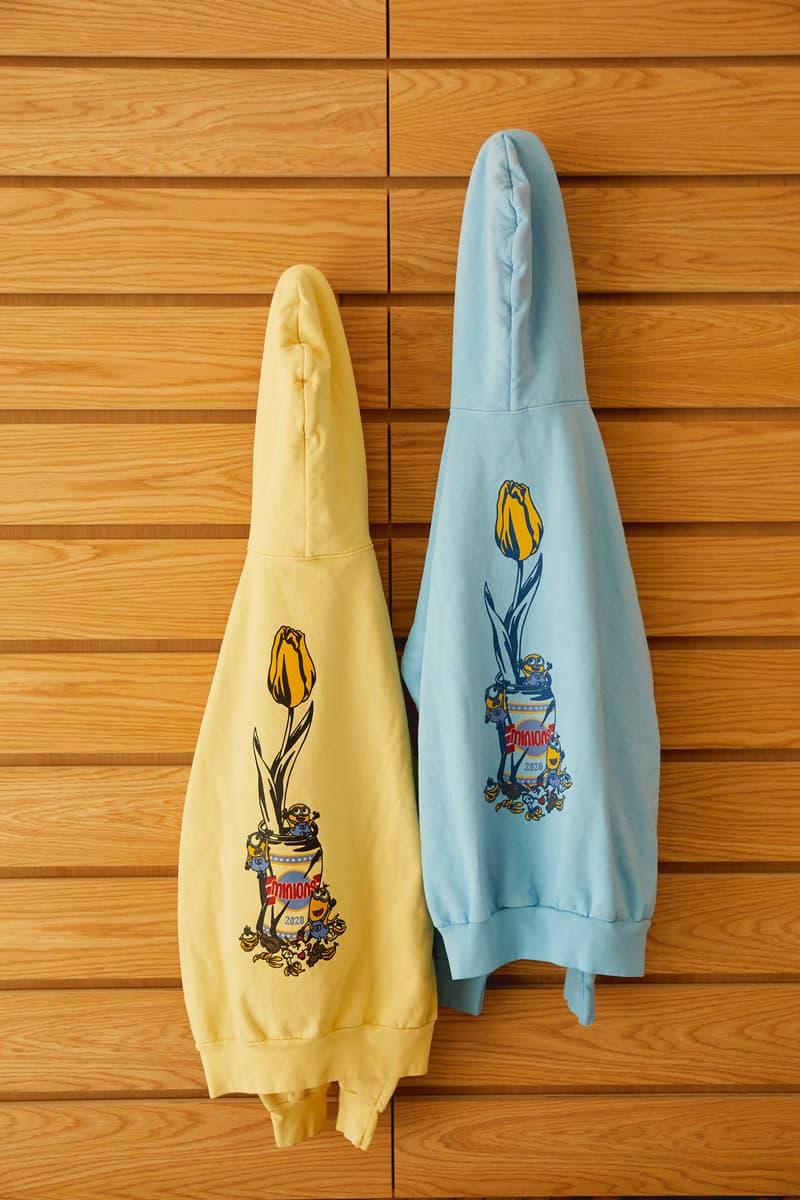 ヴェルディ x『ミニオンズ』のコラボコレクションが登場 Closer look Verdy Minions Collection Hoodies T-Shrits Stickers Pins Bandanas Vick Minion Despicable Me playful design graphics flower vase