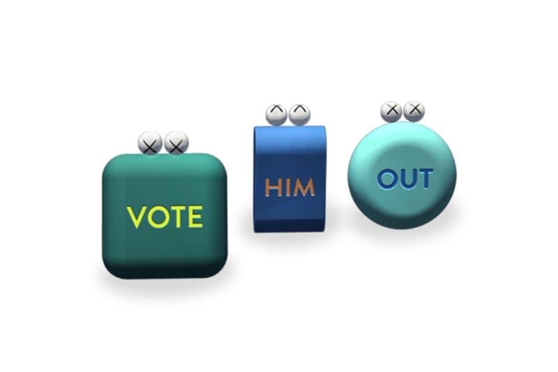 "KAWS がバイデン前副大統領への投票を促すべく ARアート ""VOTE HIM OUT"" を制作 kaws vote him out acute art app augemented reality artwork"