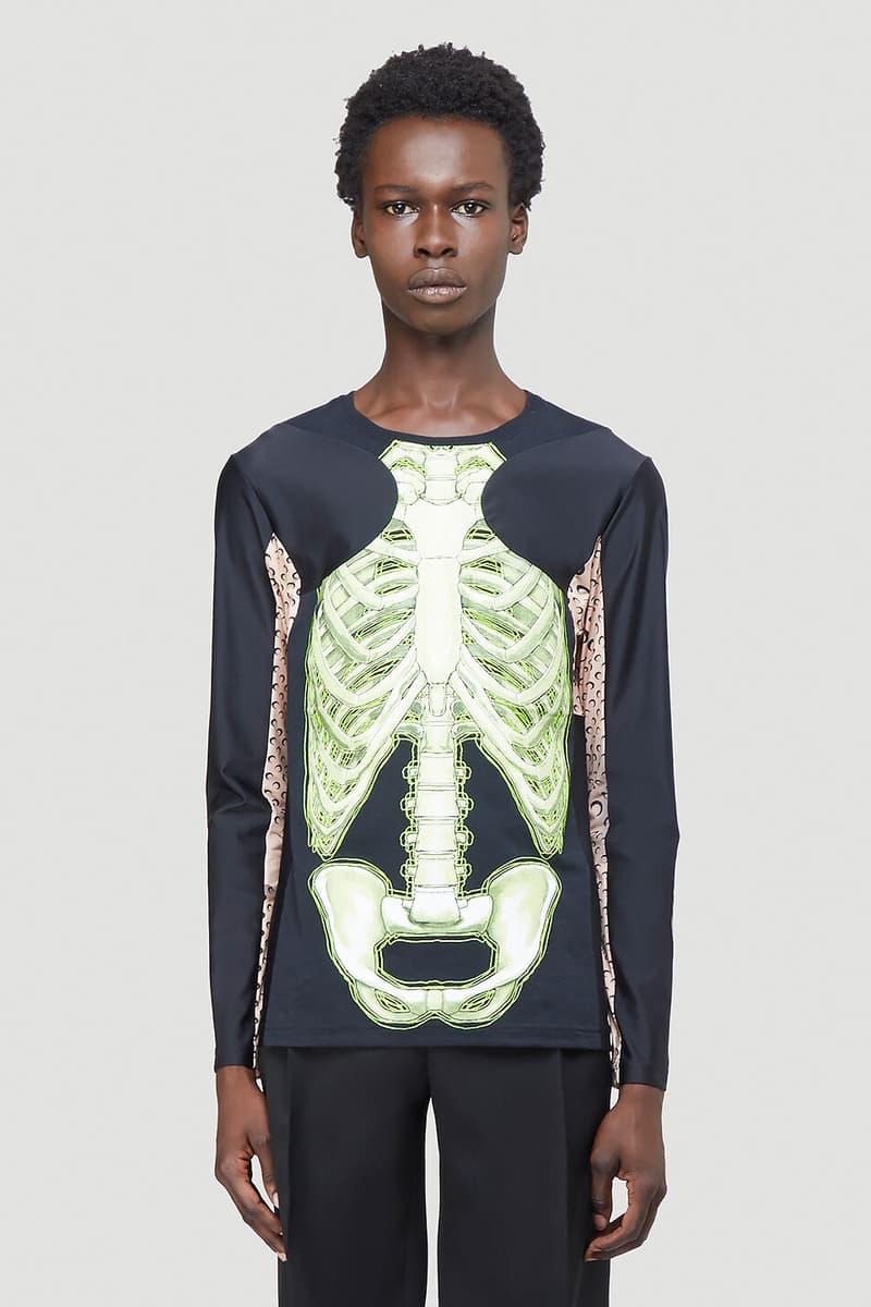 Marine Serre がハロウィンシーズンに向けて最新ロングスリーブTシャツを発売 Marine Serre Skeleton Long-Sleeve T-Shirt Black Half Moon Print Tight Top Unisex LN-CC Halloween Fall Winter 2020 FW20 Neon Green Graphic Spooky