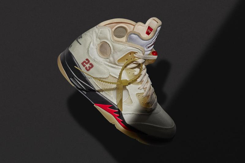 "Off-White™ x Air Jordan 5 ""Sail"" とコラボアパレルの公式ビジュアルが解禁 Off-White™ x Air Jordan 5 ""Sail"" Collection Release Date"