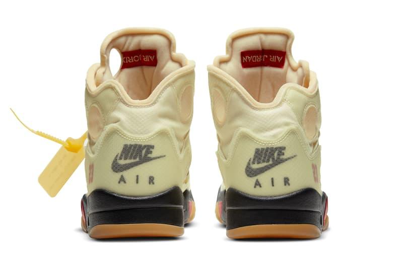 """オフホワイトxエアジョーダン5""""セイル""""のオフィシャルイメージが公開 Off-White™ x Air Jordan 5 """"Sail"""" Official Images"""