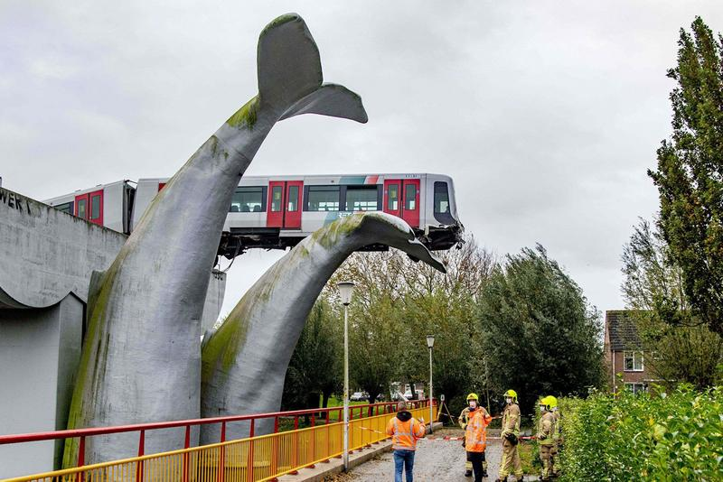 オランダにて高架から落下する電車を鯨の尾びれの彫刻が受け止める Dutch Train Saved From Crash by Whale Sculpture