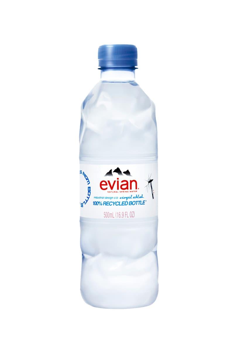 エビアンがヴァージル・アブローのデザインによる新ボトルを発表 virgil abloh off white louis vuitton evian recycled plastic water bottle details release information first look