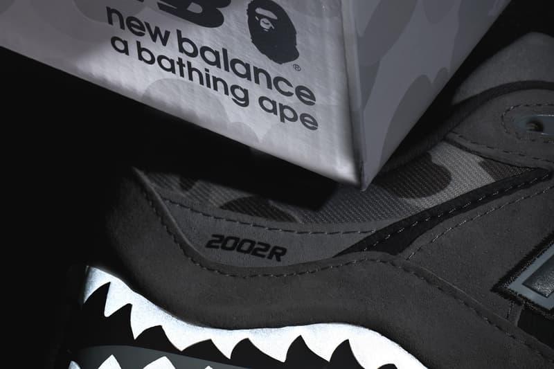 ベイプ ニューバランス BAPE®️ × New Balance による初のコラボフットウエア 2002R のビジュアルが浮上 bape a bathing ape new balance 2002r shark camo official release date info photos price store list buying guide