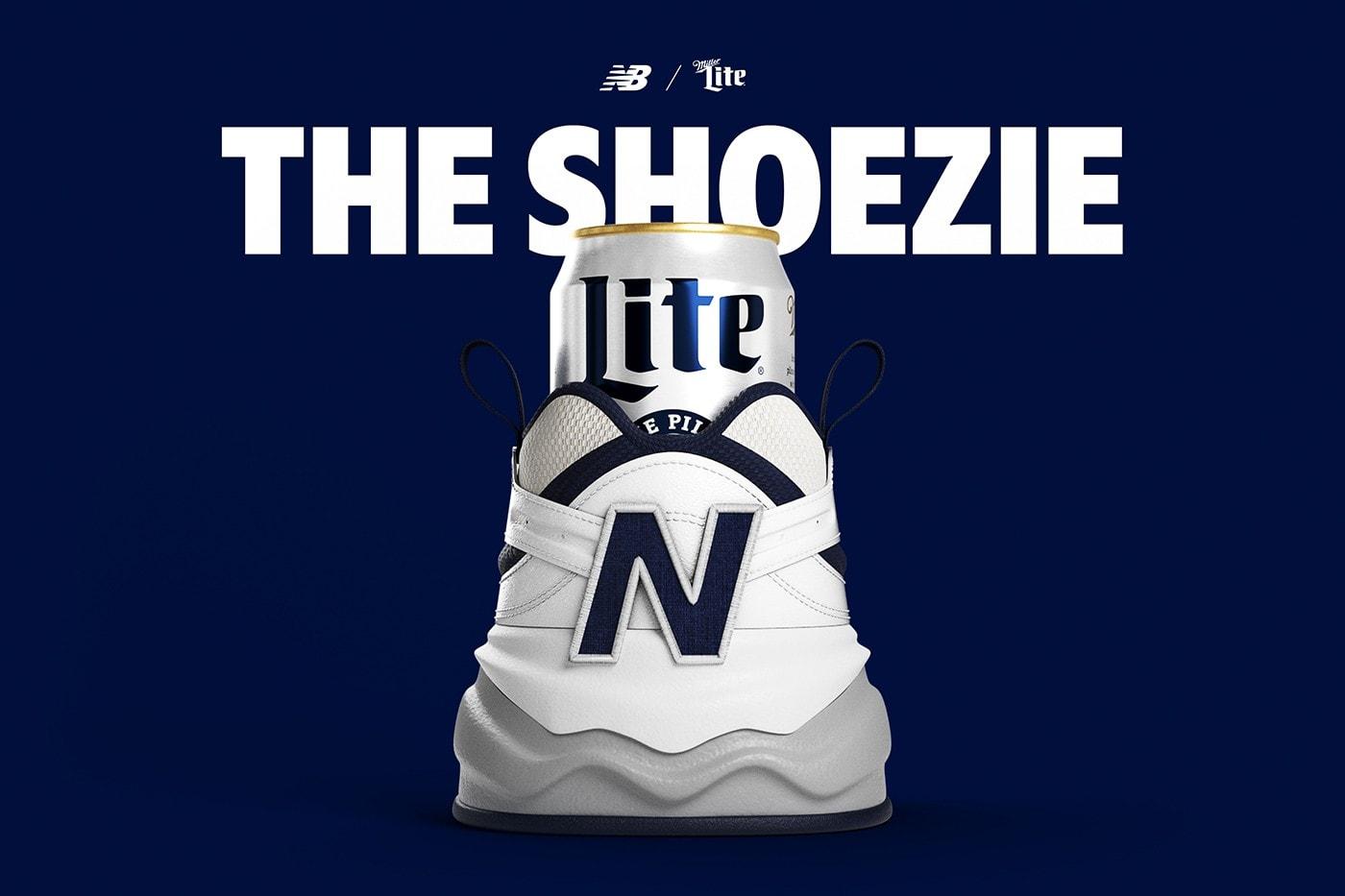 ニューバランスとビールメーカー ミラーがスニーカーを模したクージーを開発 Miller Lite New Balance Shoezie Release Info