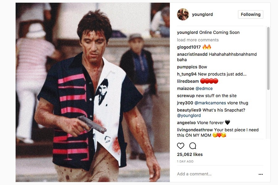 투팍 by 브이론 캡슐 컬렉션 2017 재발매 Tupac by Vlone A$AP Bari Online Re-release Scarface Shirt Teaser
