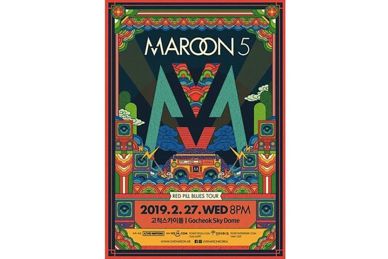 마룬 파이브 2019 내한 콘서트 포스터 공개 마룬 5 maroon 5 고척 <Red Pill Blues> 레드 필 블루스