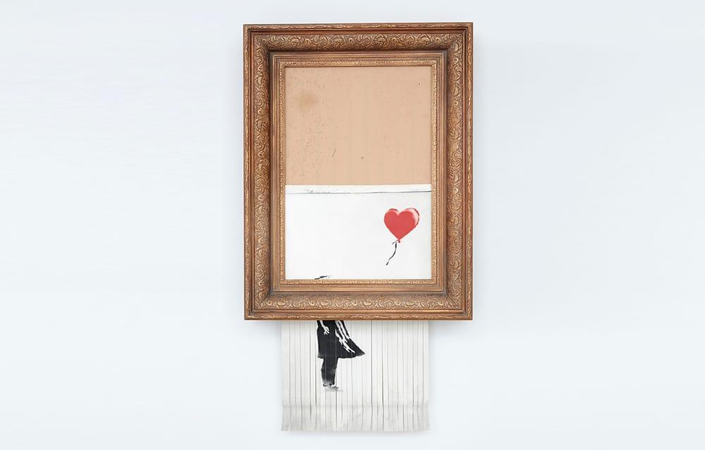 스스로 파쇄된 뱅크시 작품, 'Love is in the Bin' 제작 과정 공개