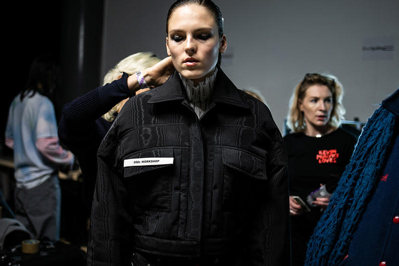032c 두 번째 컬렉션 백스테이지 런던 패션쇼 코스믹 워크숍