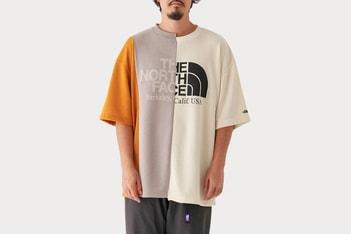 Picture of 3장이 짜집기된 노스페이스 퍼플 라벨의 비대칭 티셔츠