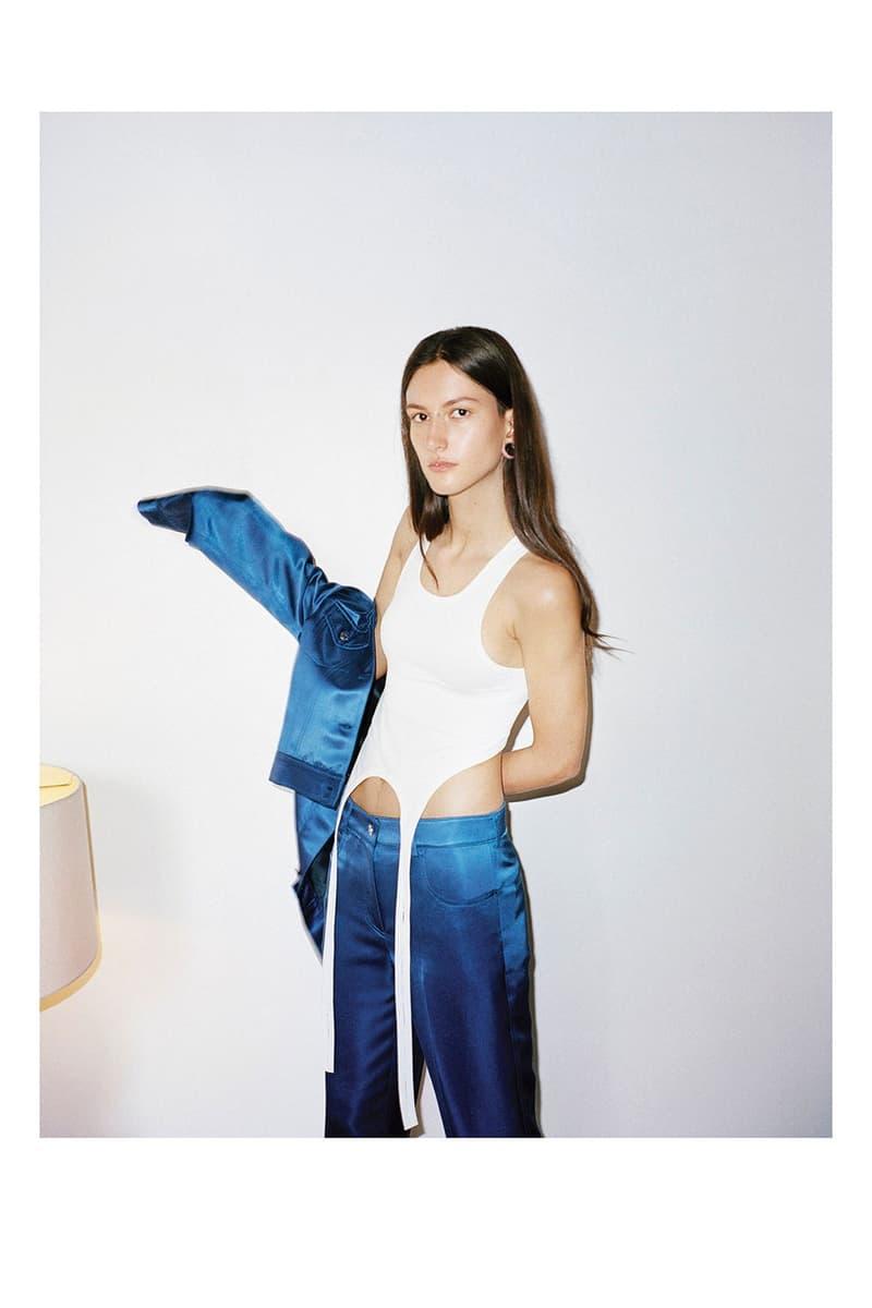 헬무트 랭의 2020 리조트 컬렉션 룩북, 데님 재킷, 시어 팬츠, 테일러링 수트