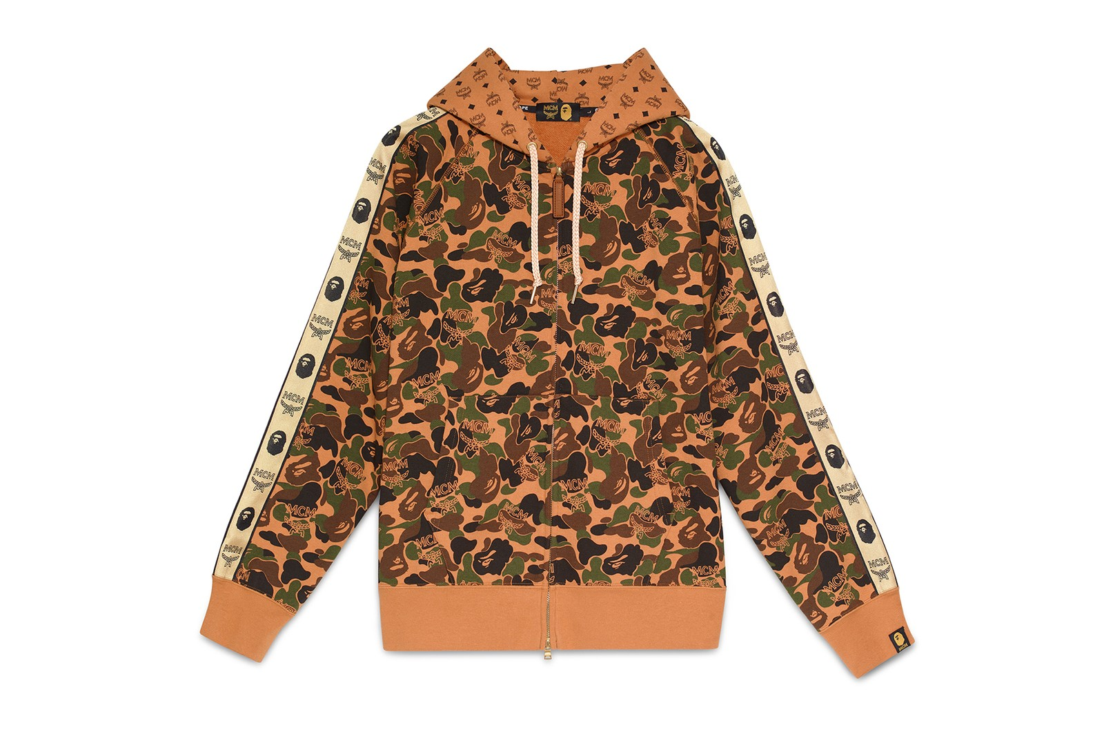 MCM x 베이프 협업 캡슐 컬렉션, 티셔츠, 카무플라주, 유인원, 럭셔리, 스트리트