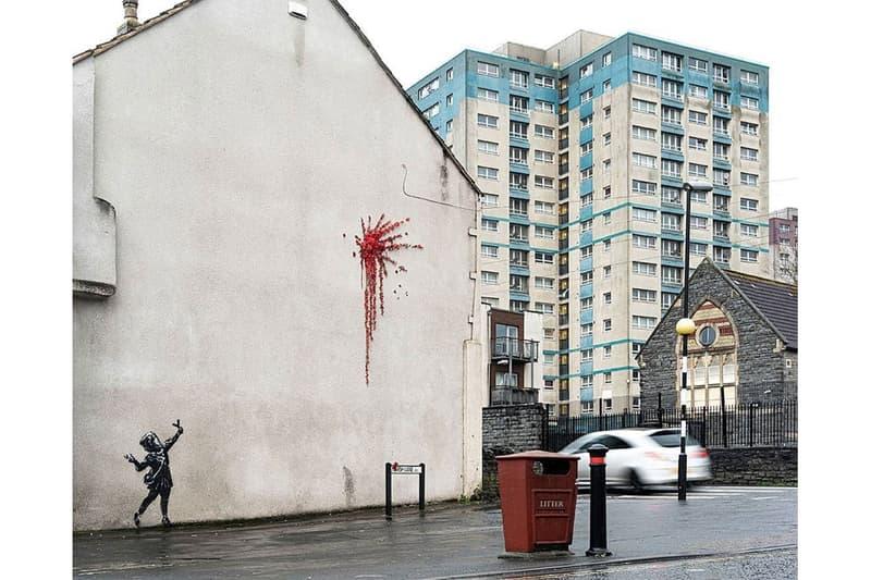 밸런타인데이에 베일 벗은 뱅크시의 새 영국 브리스톨 벽화, 이미 훼손됐다