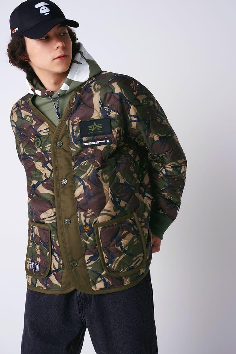 에이프 바이 베이프 x 알파 인더스트리 캡슐 컬렉션 룩북 및 발매 정보, 협업 아이템, 카무플라주 패턴, MA-1 재킷