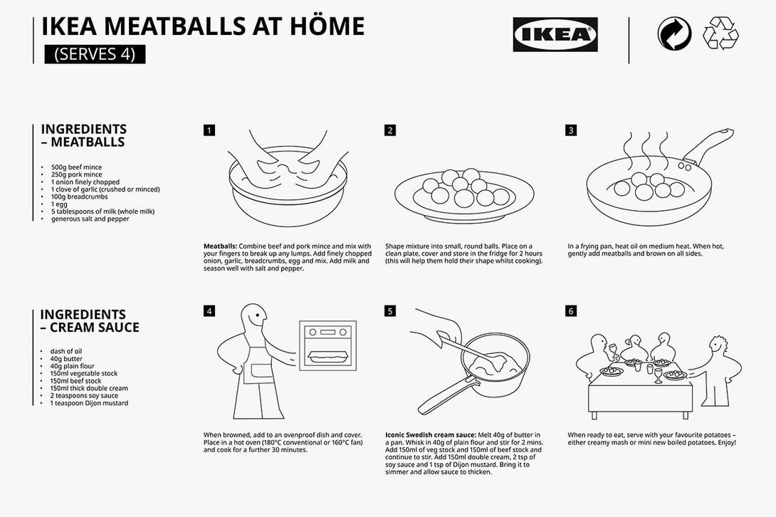 이케아, 대표 음식 메뉴인 스웨디시 미트볼 & 크림 소스 레시피 공개