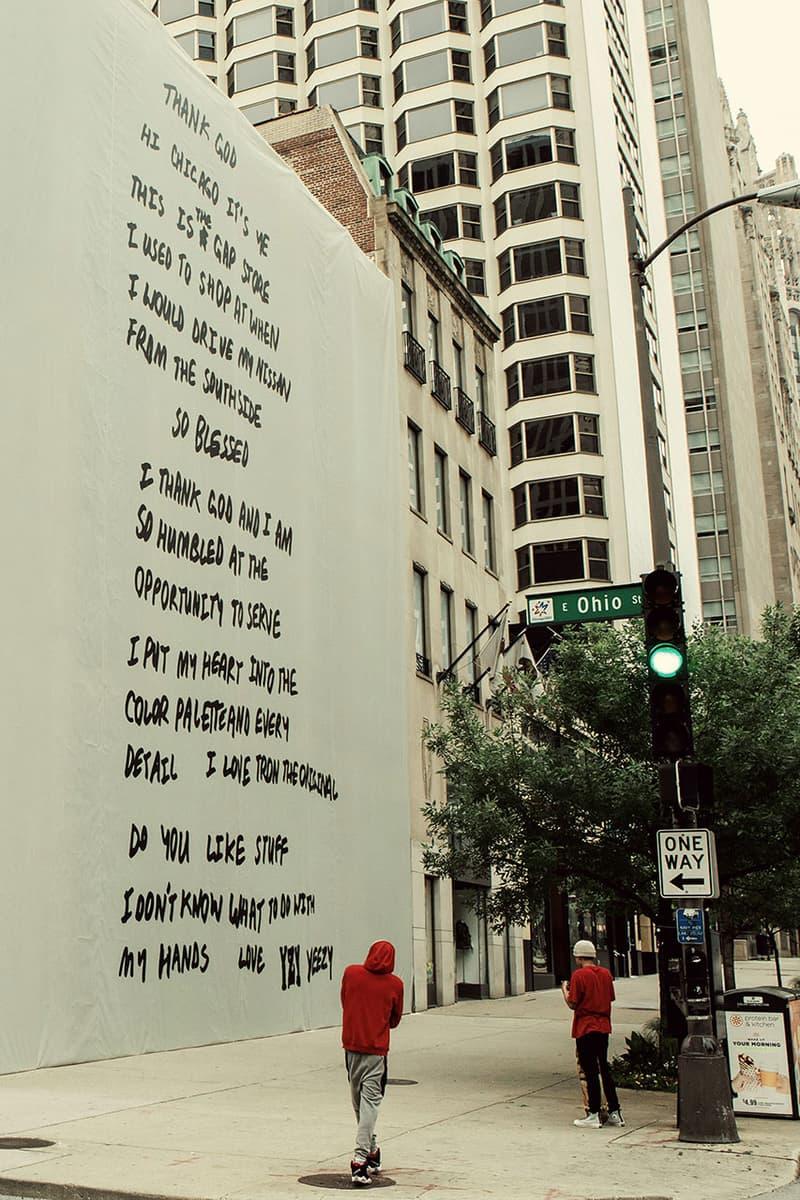 칸예 웨스트가 새롭게 디자인한 시카고 갭 매장의 모습은?, 이지, 협업, 손편지