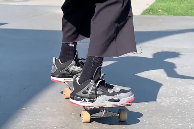 스케이트보더 뱀 마젤라가 공개한 오프 화이트 x 에어 조던 4 '브레드'의 모습은?, 협업 스니커, 버질 아블로