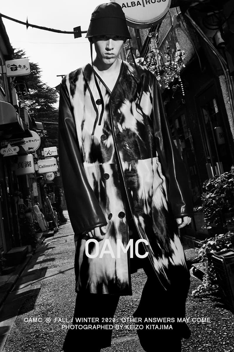 도쿄의 구석구석에서 촬영된 OAMC 2020년 가을, 겨울 캠페인, 애시드 다이, 트렌치코트, 가죽 코트, duane shirts, 루크 마이어